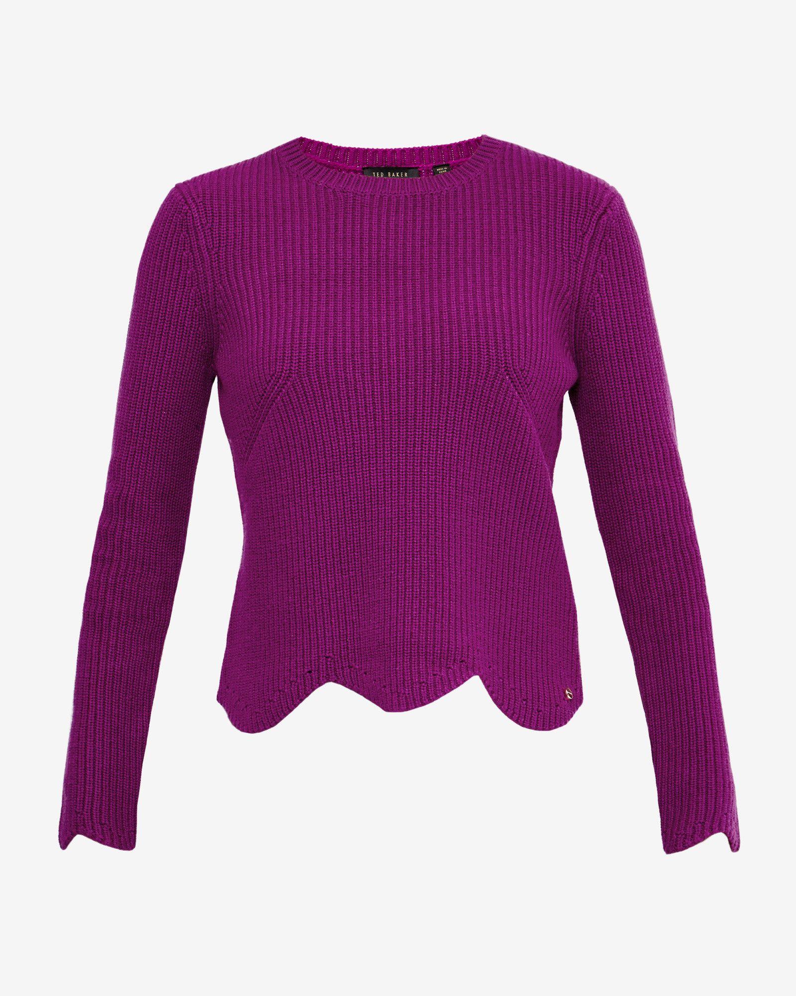 c0422a9d0b9ce Scalloped edge ribbed sweater - Deep Purple