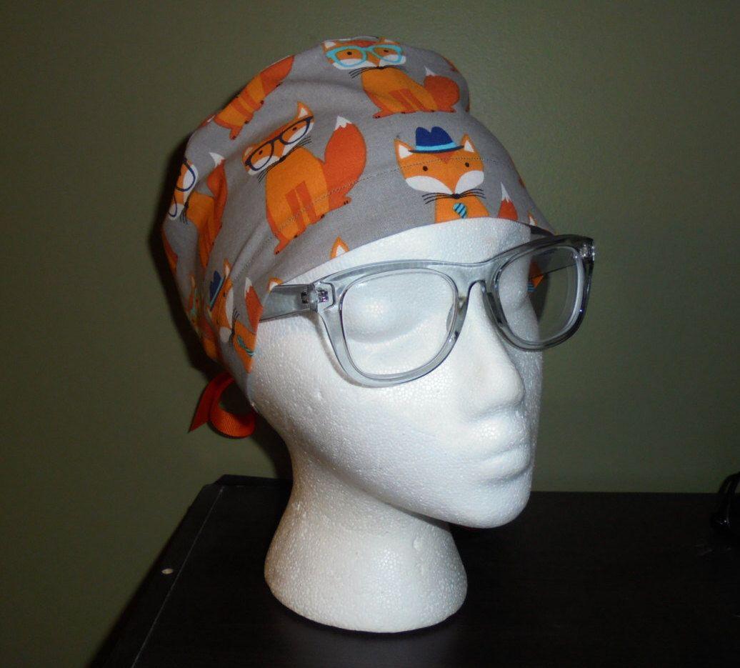 Gray Fox Surgical Scrub Hat by FourEyedCreations on Etsy https://www.etsy.com/listing/269208661/gray-fox-surgical-scrub-hat