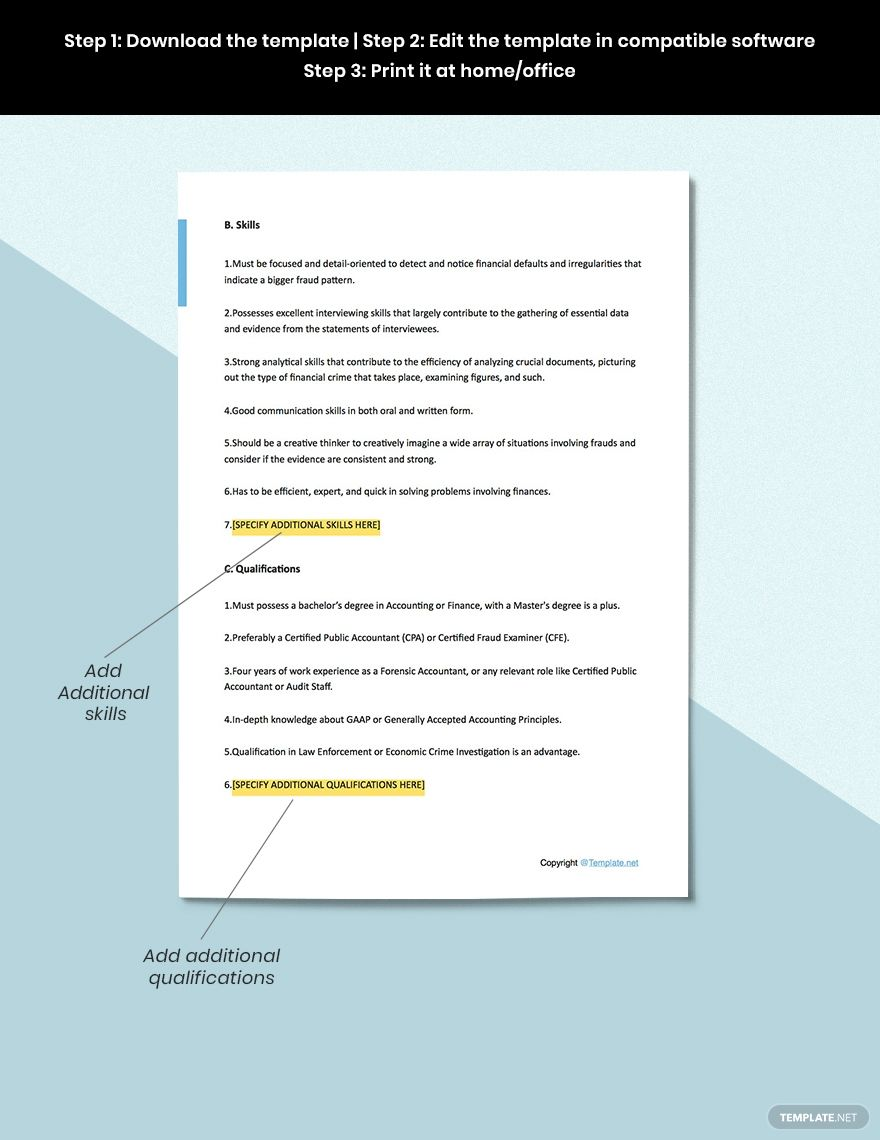 Free Forensic Accountant Job Ad Description Template In 2020 Accounting Jobs Job Ads Job Description Template