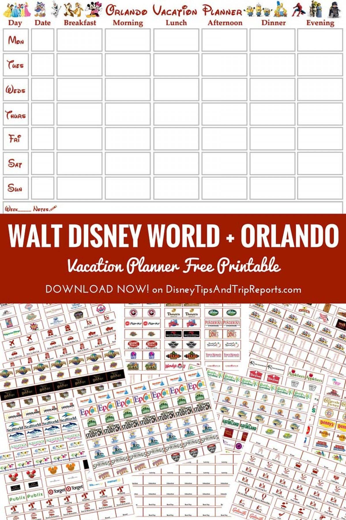 Walt Disney World Orlando Vacation Planner Free Printable Disney Tips Trip Reports Disney Vacation Planner Disney Planner Walt Disney World Orlando