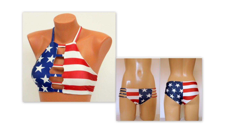 Victoria/'s Secret Swim US Flag Stars Stripes High Neck Strappy Halter Bikini Top