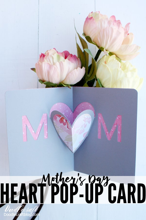 Mother S Day Heart Pop Up Card Diy With Cricut Maker Heart Pop Up Card Pop Up Flower Cards Pop Up Cards