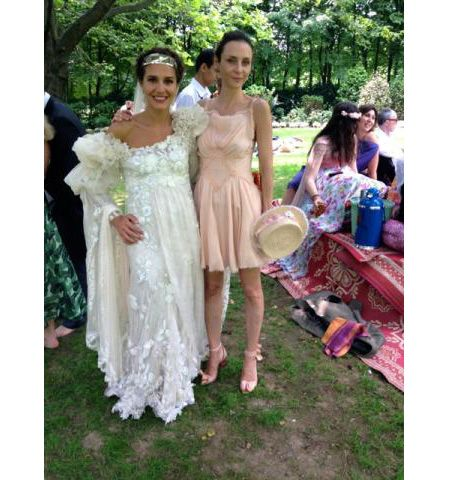e4442f67c217 Margherita Missoni in her silk and organza off-the-shoulder wedding gown
