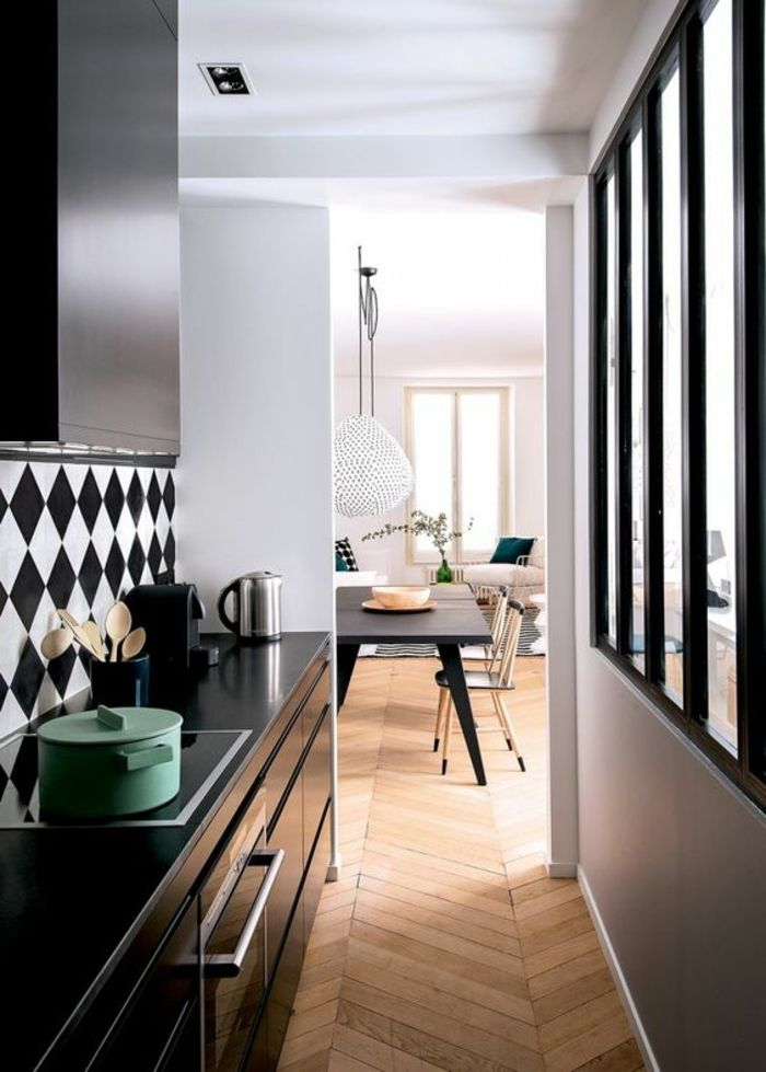 offene küche trennen schwarze küchenfronten glas raumteiler ...