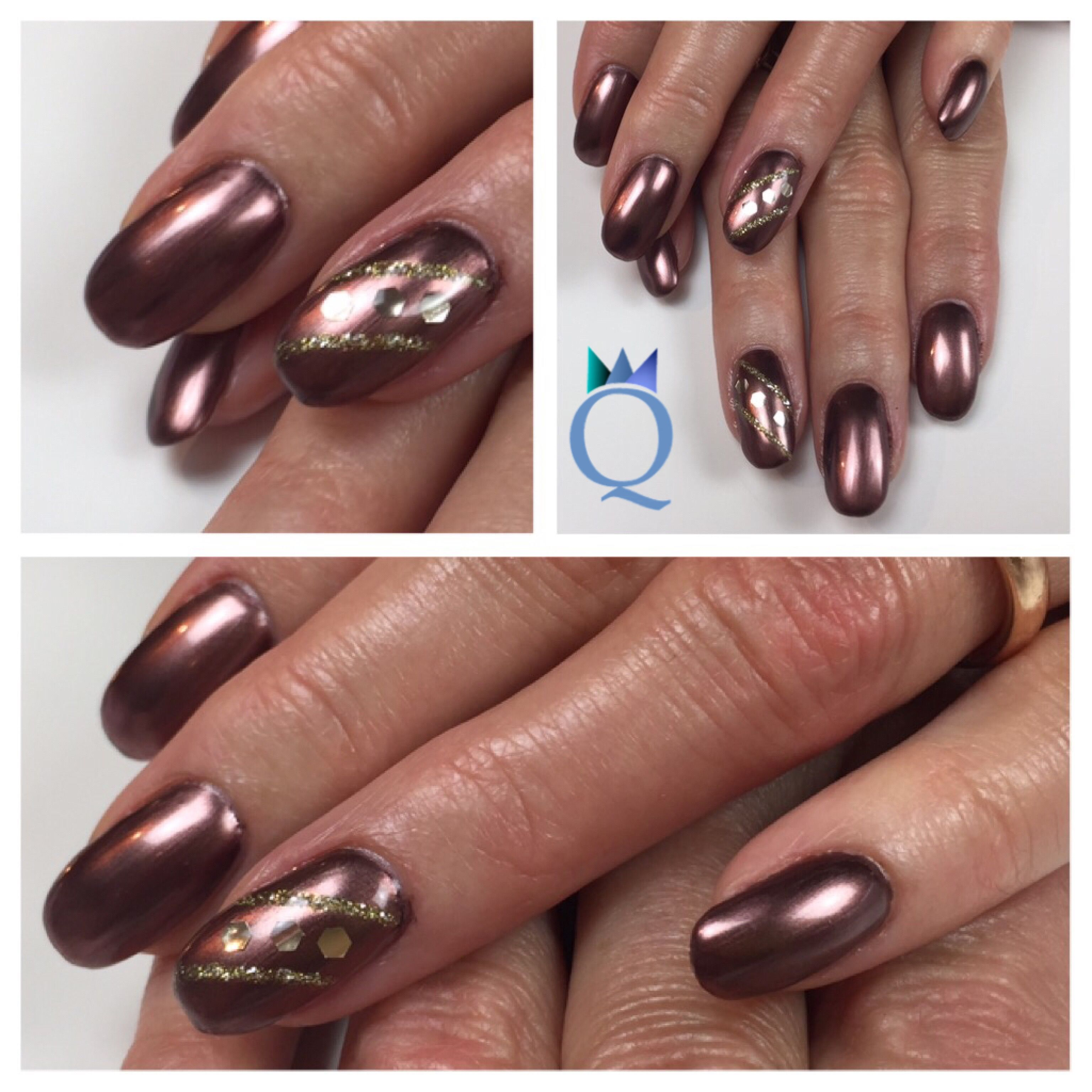shortnails #gelnails #nails #brown #metallic #goldsilver #stripes ...