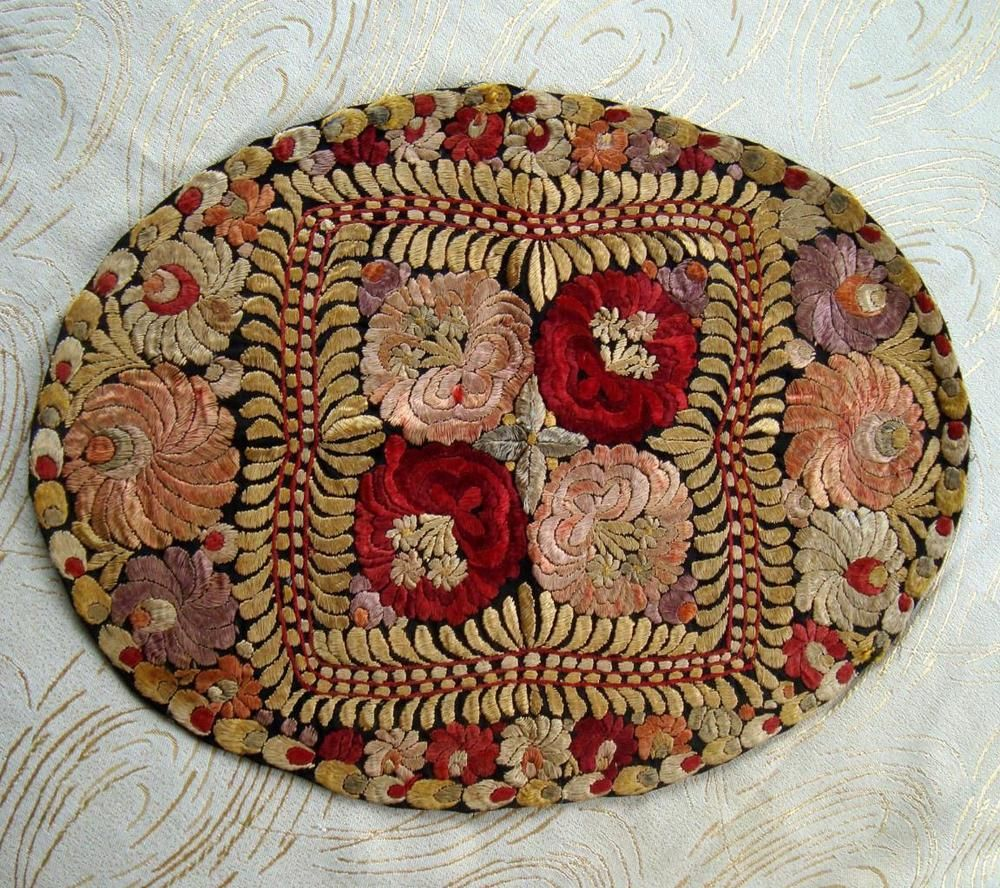 X14 Antique Hand Embroidered Floral Silk Hungarian Matyo Oval Table Mat | eBay
