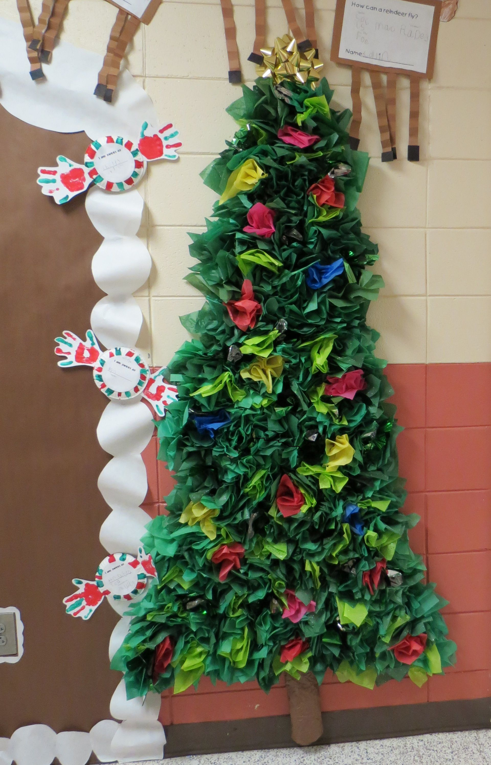Tissue paper Christmas Tree. I cut tissue paper into 8x8 squares ...