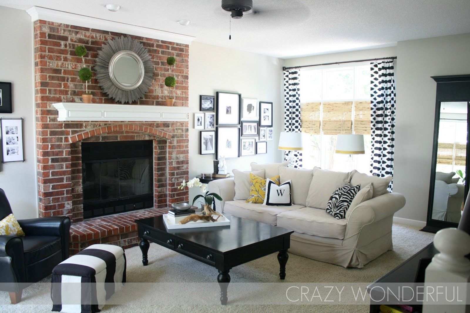greige paint. whites/blacks. and real brick fireplace... Perfect for ...