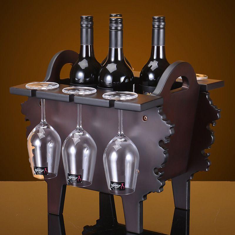 2016 Creative Wood Wine Holder Furniture 38cm H Antique Red Ancient Tripod Decorative Champagne
