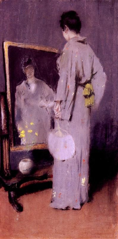 "Making Her Toilet by William Merritt Chase, ""pastel""."