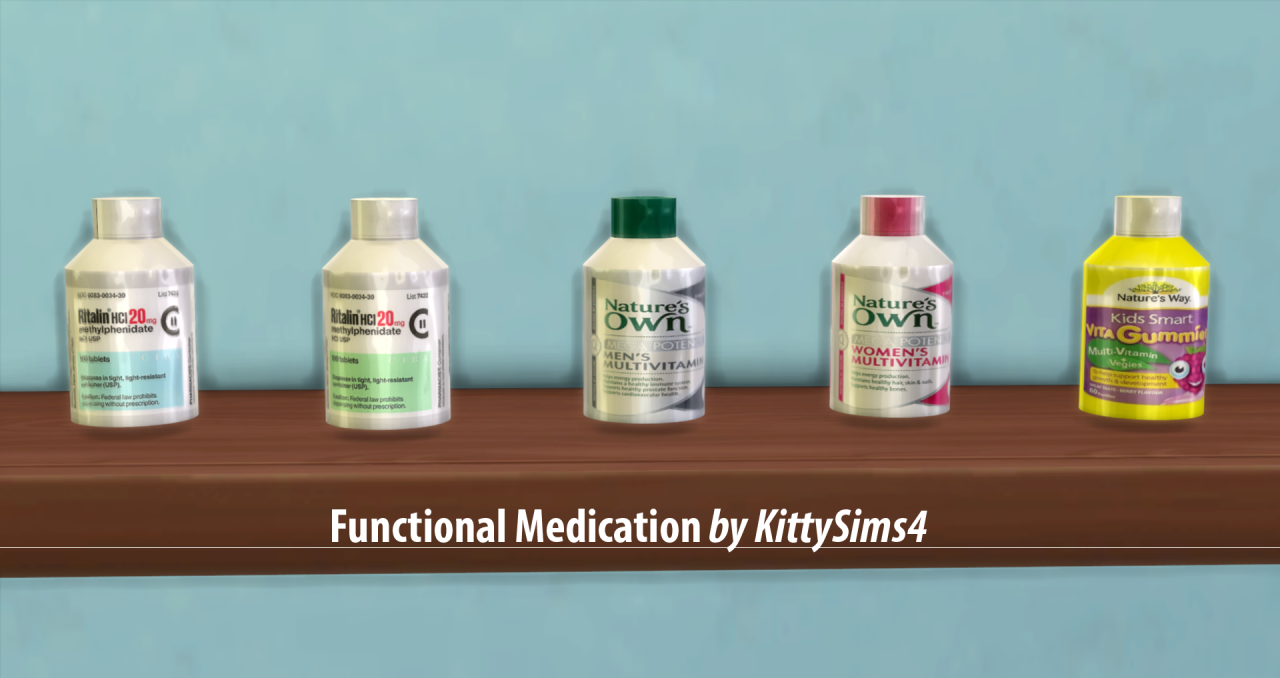 the sims 4 kittysims4 functional medication object mod sims cc pinterest. Black Bedroom Furniture Sets. Home Design Ideas