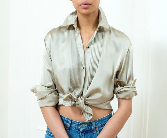 80e842d8b 80s gold silk blouse small   anne klein metallic silk button down shirt    champagne silk button up g