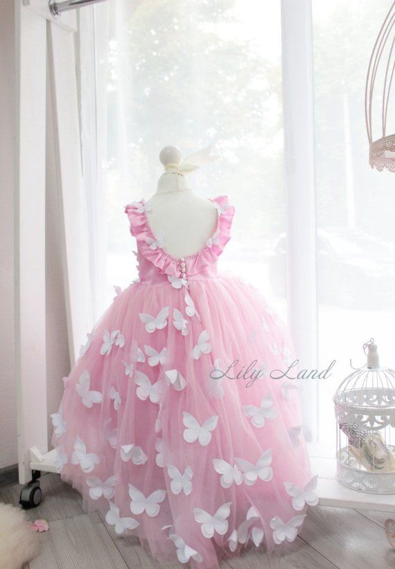 e981ebf5aa6e Butterfly Applique Dress pink flower girl dress dress with butterfly  birthday dress personalized dre