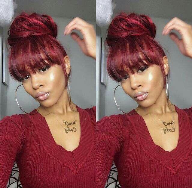 Red Bangs Hair Styles Natural Hair Styles Girl Hairstyles