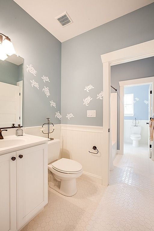 Love this color and the turtles for the kids bathroom for Christine huve interior designs