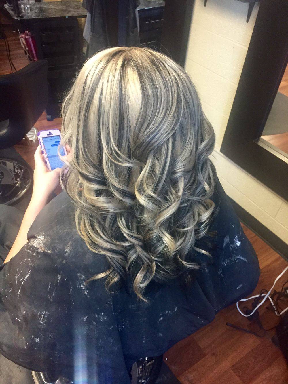 Platinum Blonde With Black Lowlights Curled Hair Short Hair