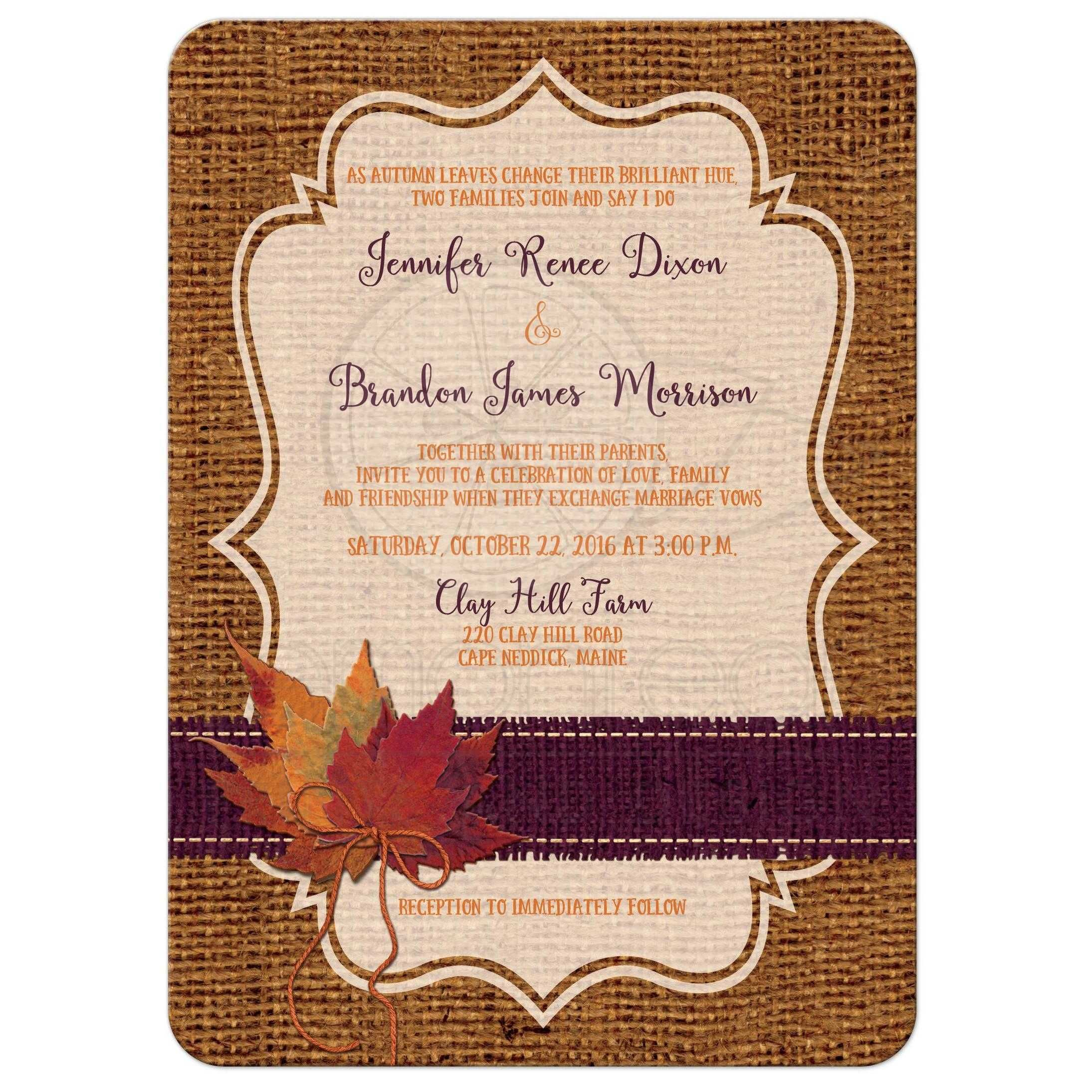 Autumn Wedding Invitation   Dried Leaves, FAUX Burlap, and Twine Bow ...