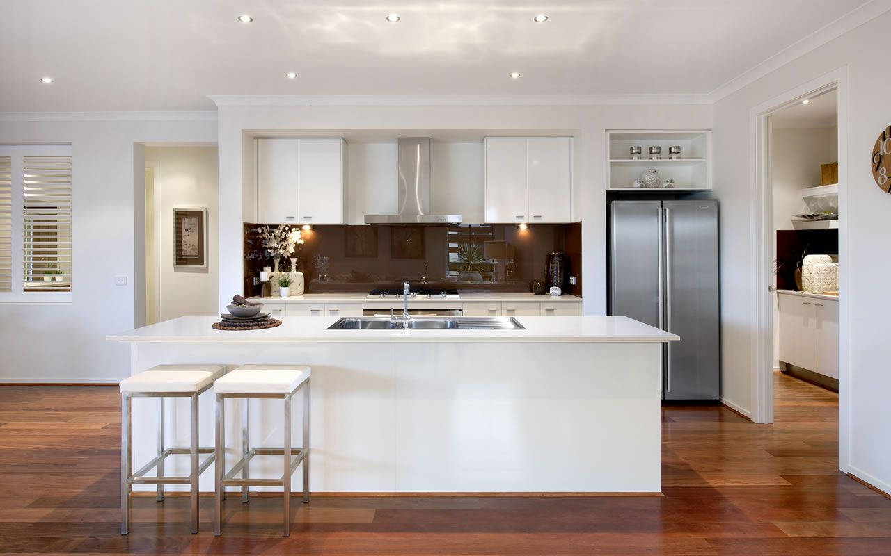 Modern White Kitchen Dark Floor dark floors, white bench tops and cabinets. exact colours except