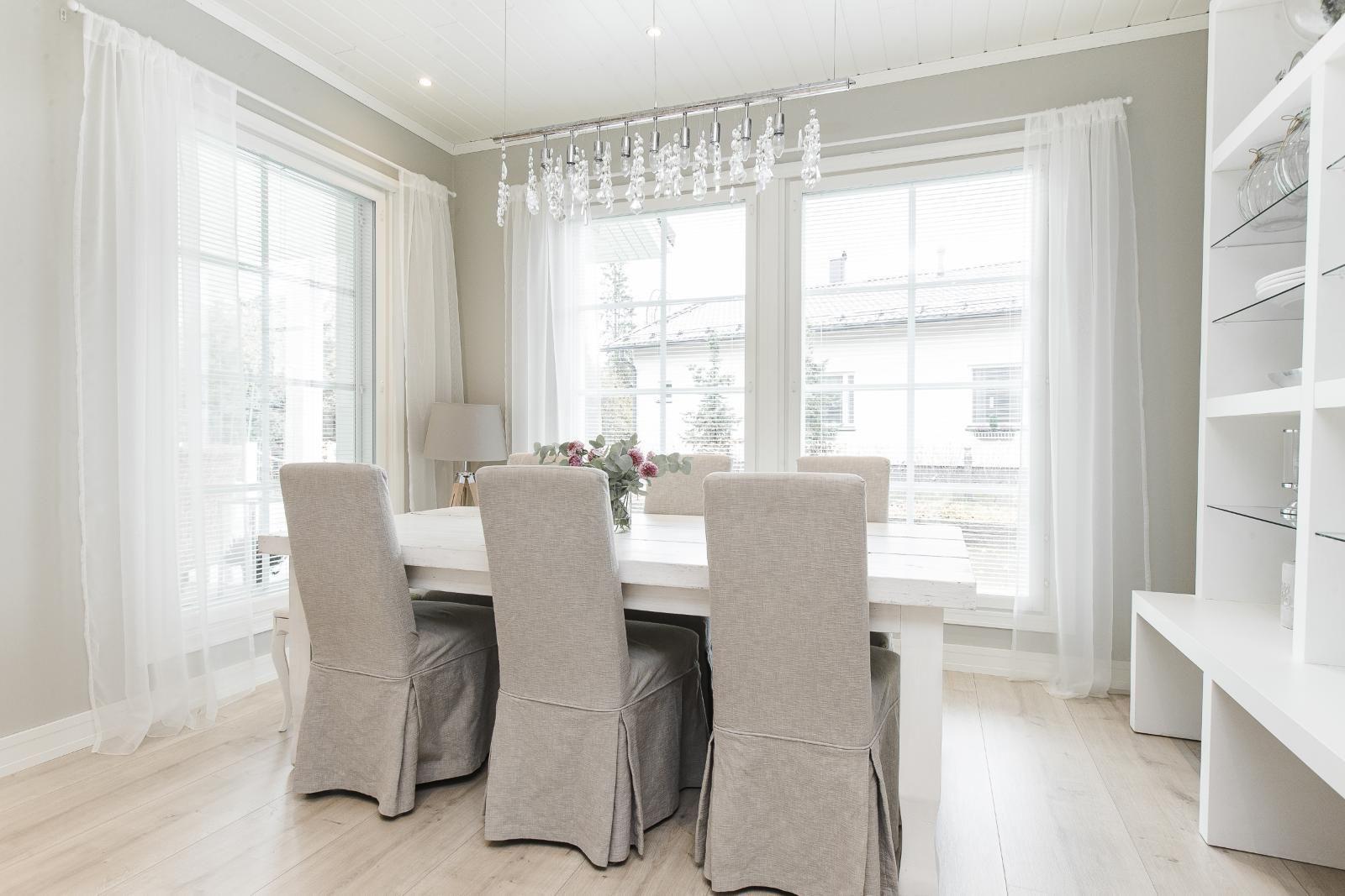Ruokapöydän valaistus, ikkunoiden sijoitus ja koko