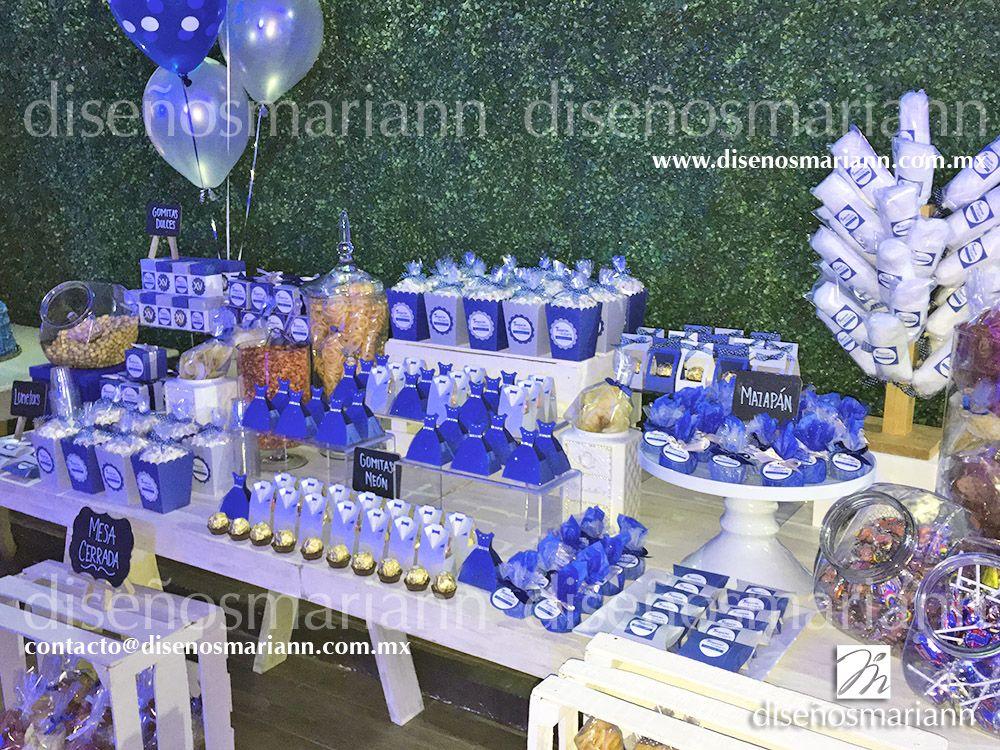 Mesa de dulces xv a os mesa de dulces az l marino y plata for Mesa de dulces para xv anos