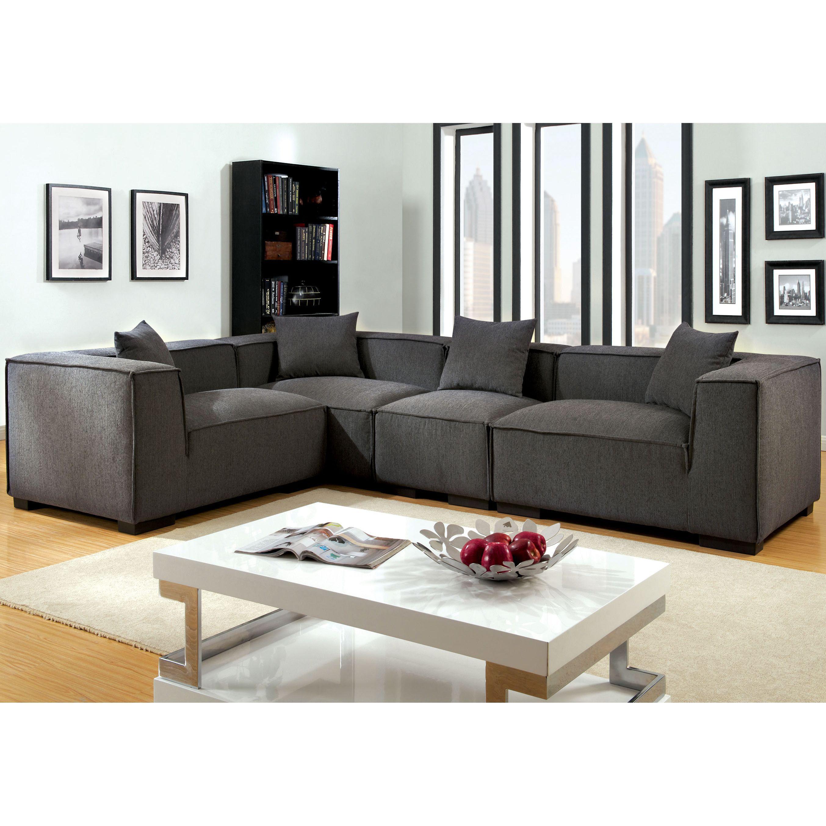 Furniture of america slaten grey flannelette piece sectional grey