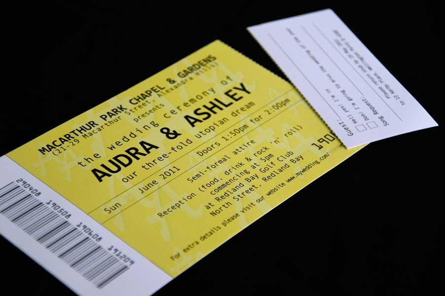 Ticket Wedding Invitation \ Response Card Wedding Invitations - invitations that look like concert tickets