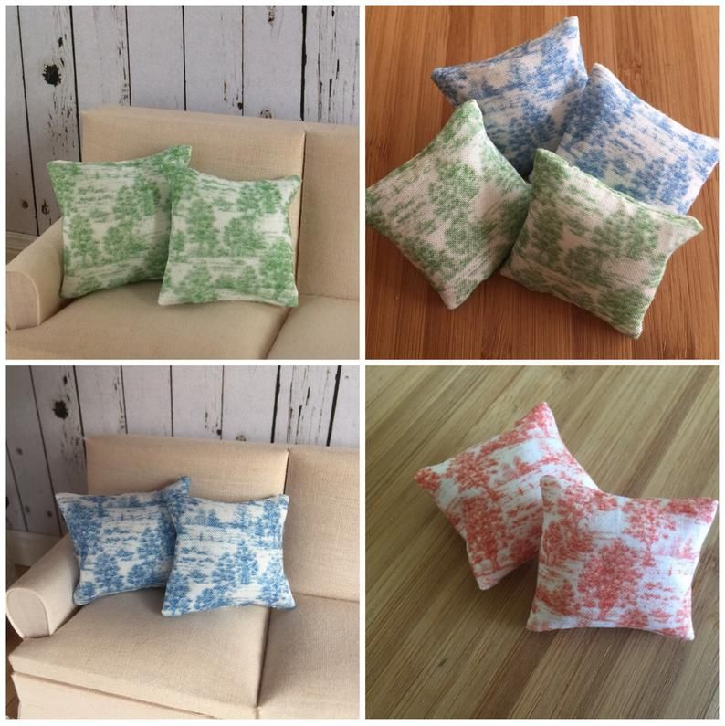 1//12th Scale Dolls House Printed Fabric Cushions Check Design in Red /& White