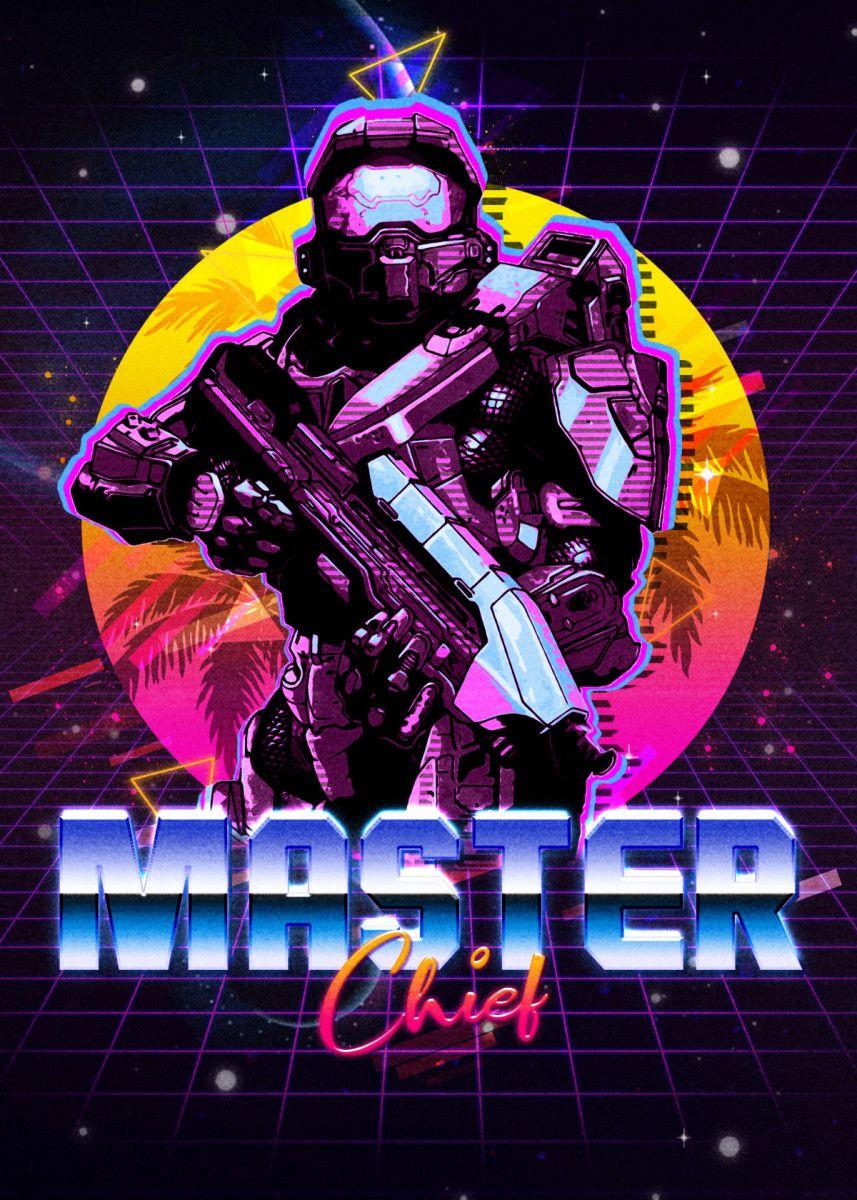 Masterchief 80s retro space poster print metal posters