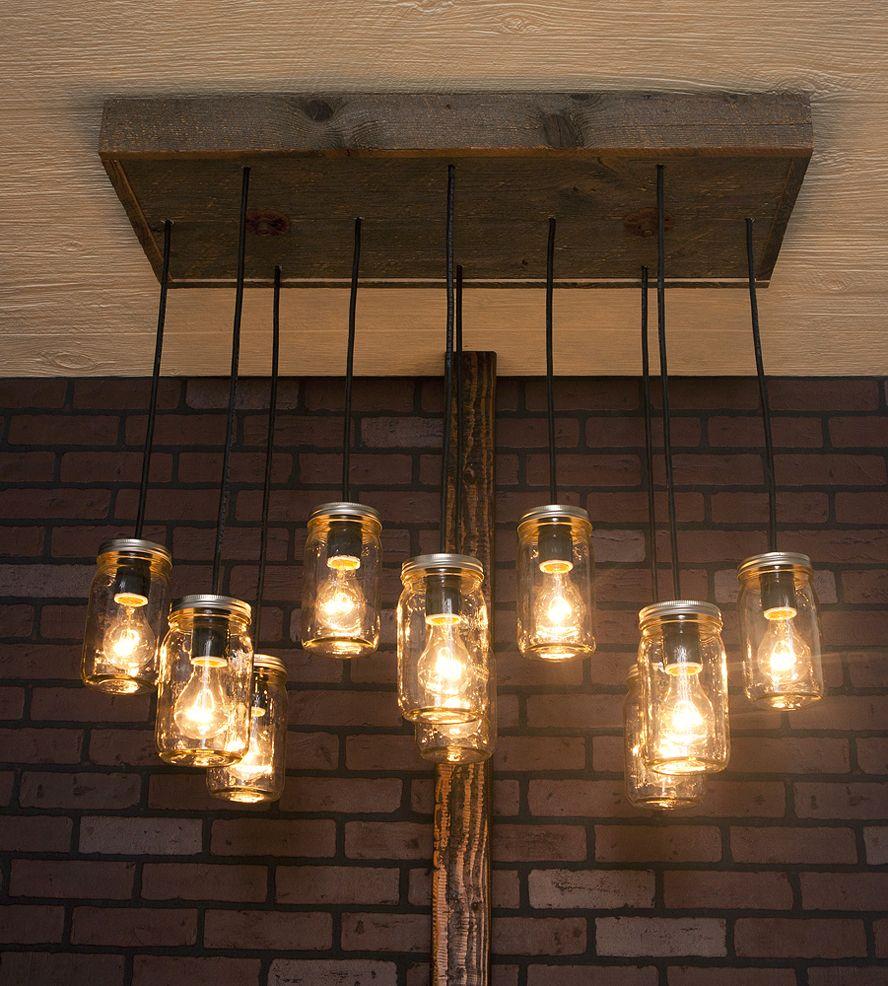 10 Light Diy Mason Jar Chandelier Rustic Cedar Rustic Wood: Mason Jar Reclaimed Wood Chandelier, 10 Pendants