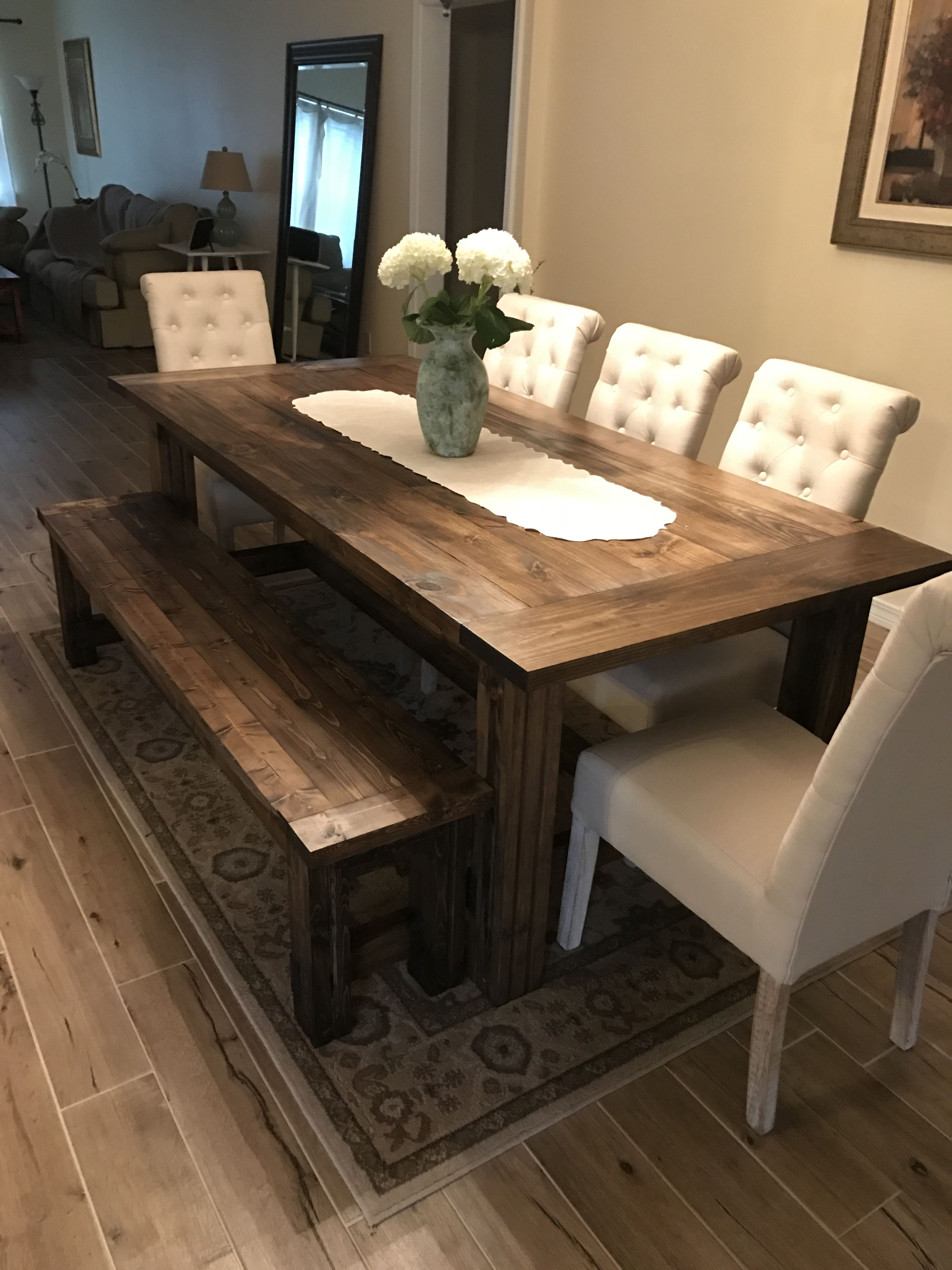 Ana White Farmtable And Bench Diy Projects In 2020 Farmhouse Kitchen Tables Dining Room Remodel Dining Table Design