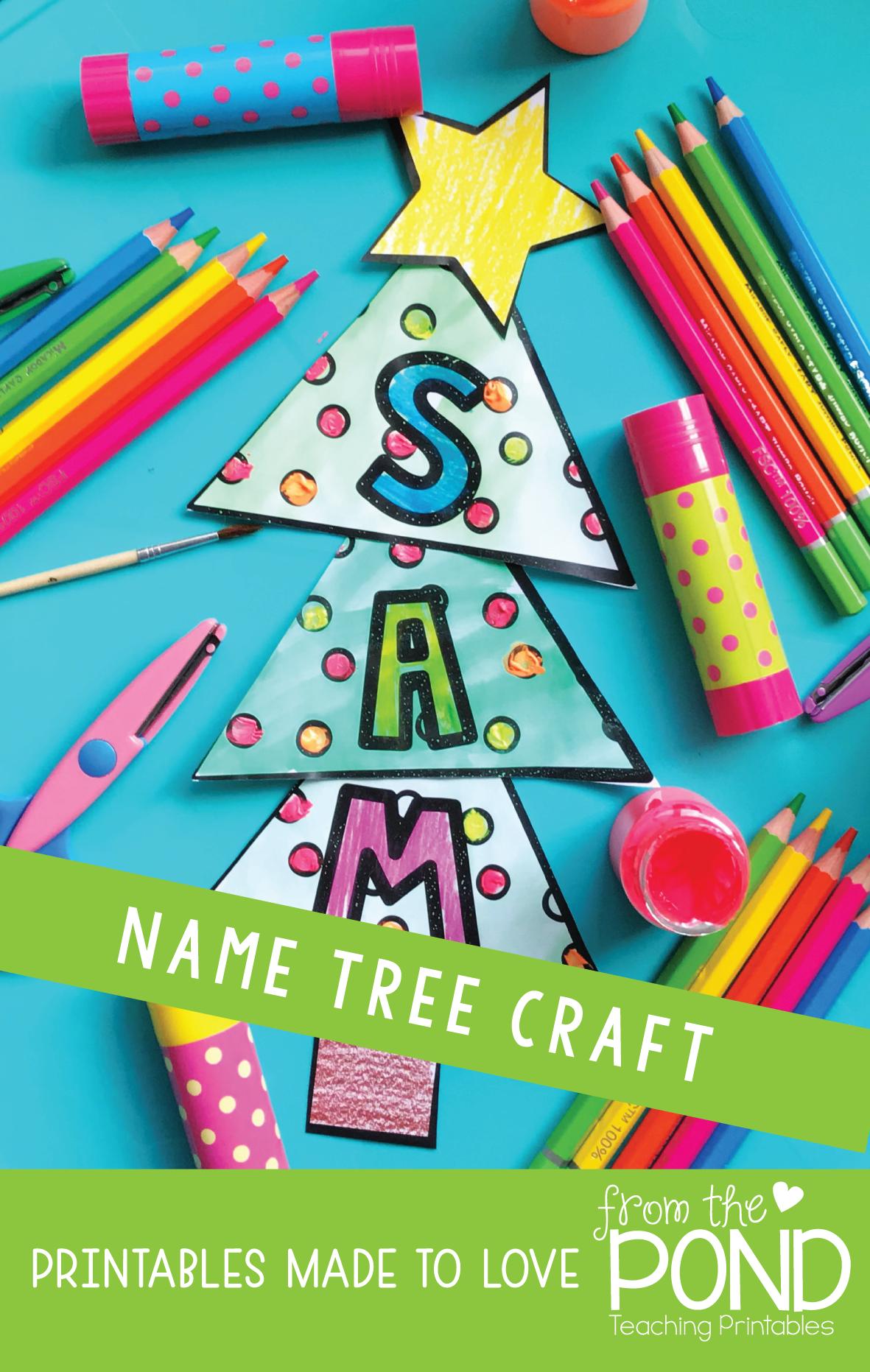 Christmas Tree Name Word Craft Christmas Kindergarten Name Crafts Christmas Tree Crafts
