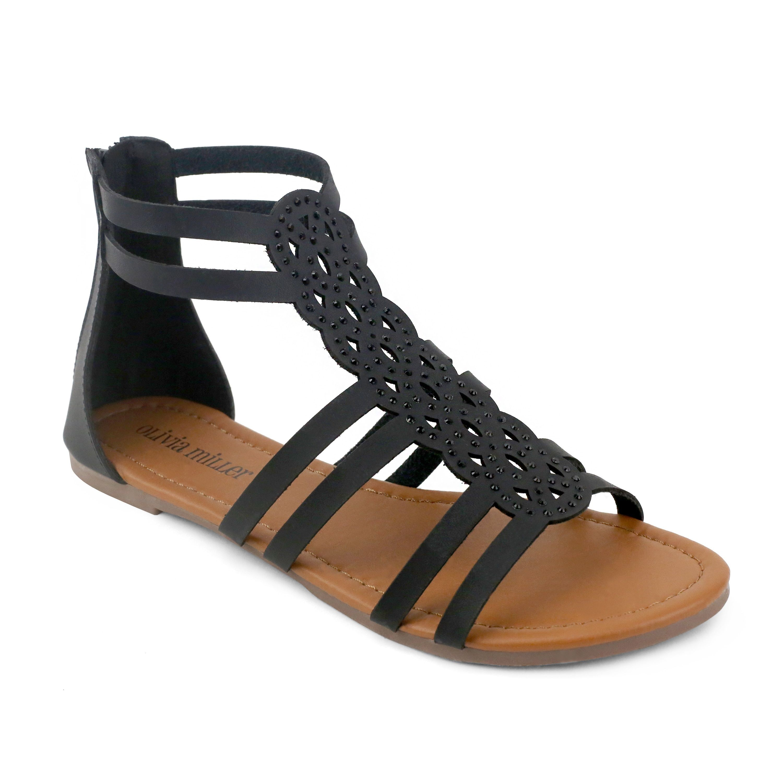 OM Olivia Miller 'Krishna' /Gold Synthetic Gladiator Sandals, Women's