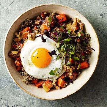 Roasted Sweet Potato Quinoa And Fried Egg Bowl Recipe Food