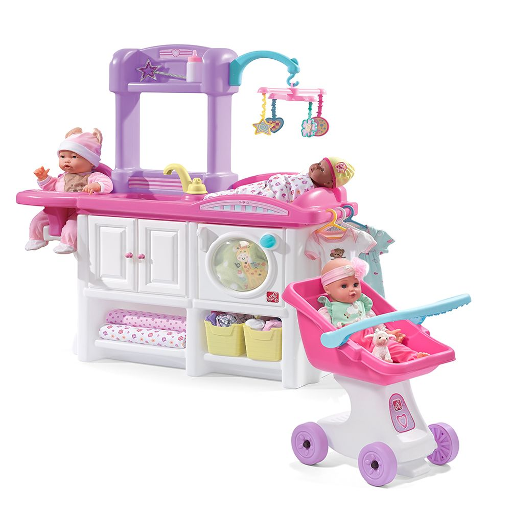 Step2 Love And Care Play Set Pairs The Deluxe Nursery Doll Stroller Making It Perfect Playset For Little S Their Dolls Vie