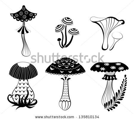 Set of silhouettes fantasy mushrooms. Isolated on white. Vector ...