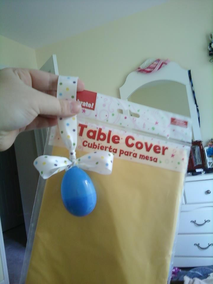 Table cover weights for an Easter picnic- (4) eggs filled with jelly beans.