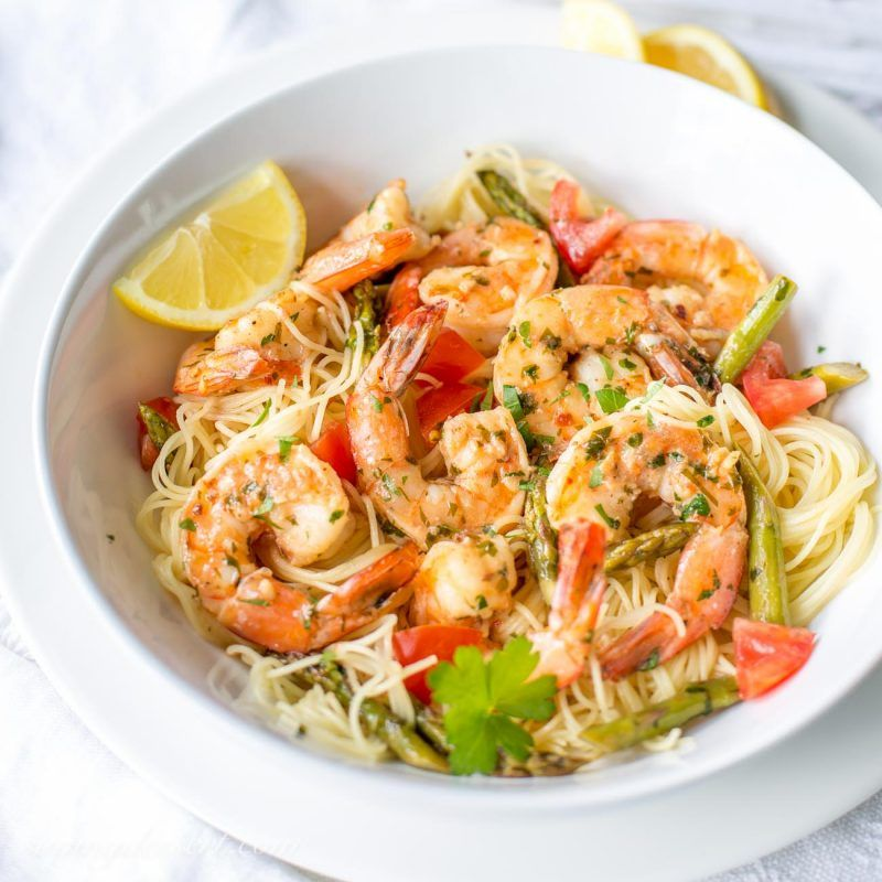 Shrimp Scampi With Asparagus And Tomatoes Recipe Chicken Fettuccine Scampi Chicken Fettuccine Alfredo