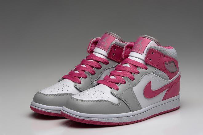 Michael Jordan Retro 1 GS Athletic Shoes for Women - Metallic Platinum/White  with Dynamic