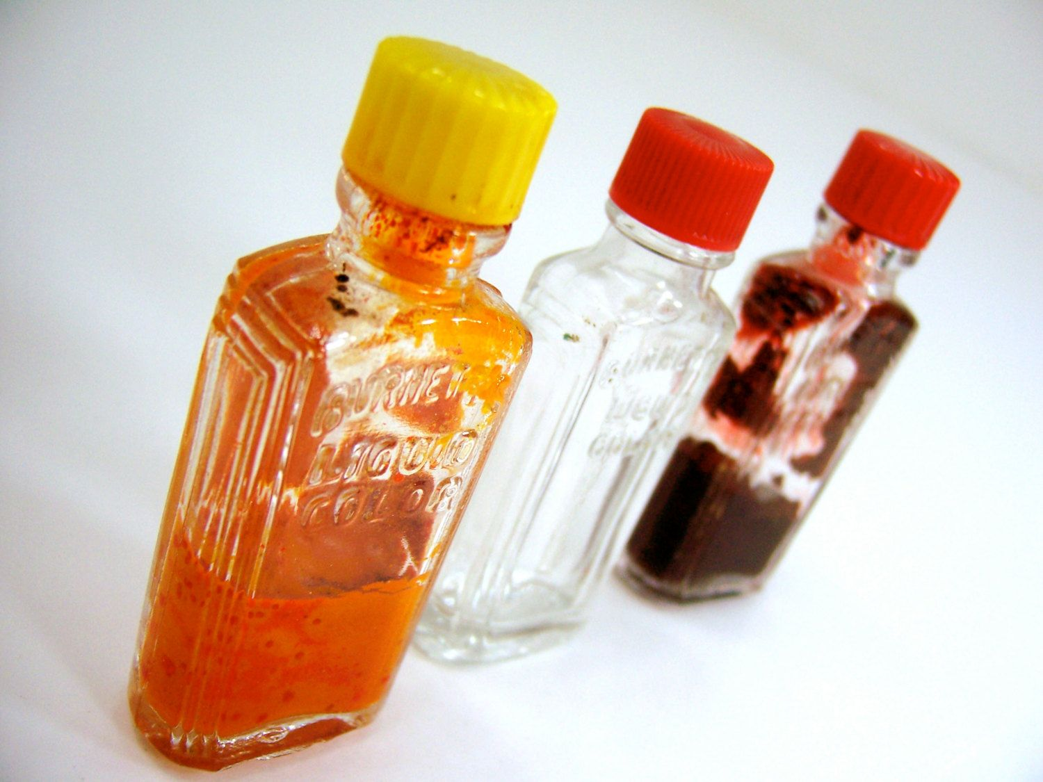 3 small glass bottles, Art Deco vintage 1940s dry food coloring ...