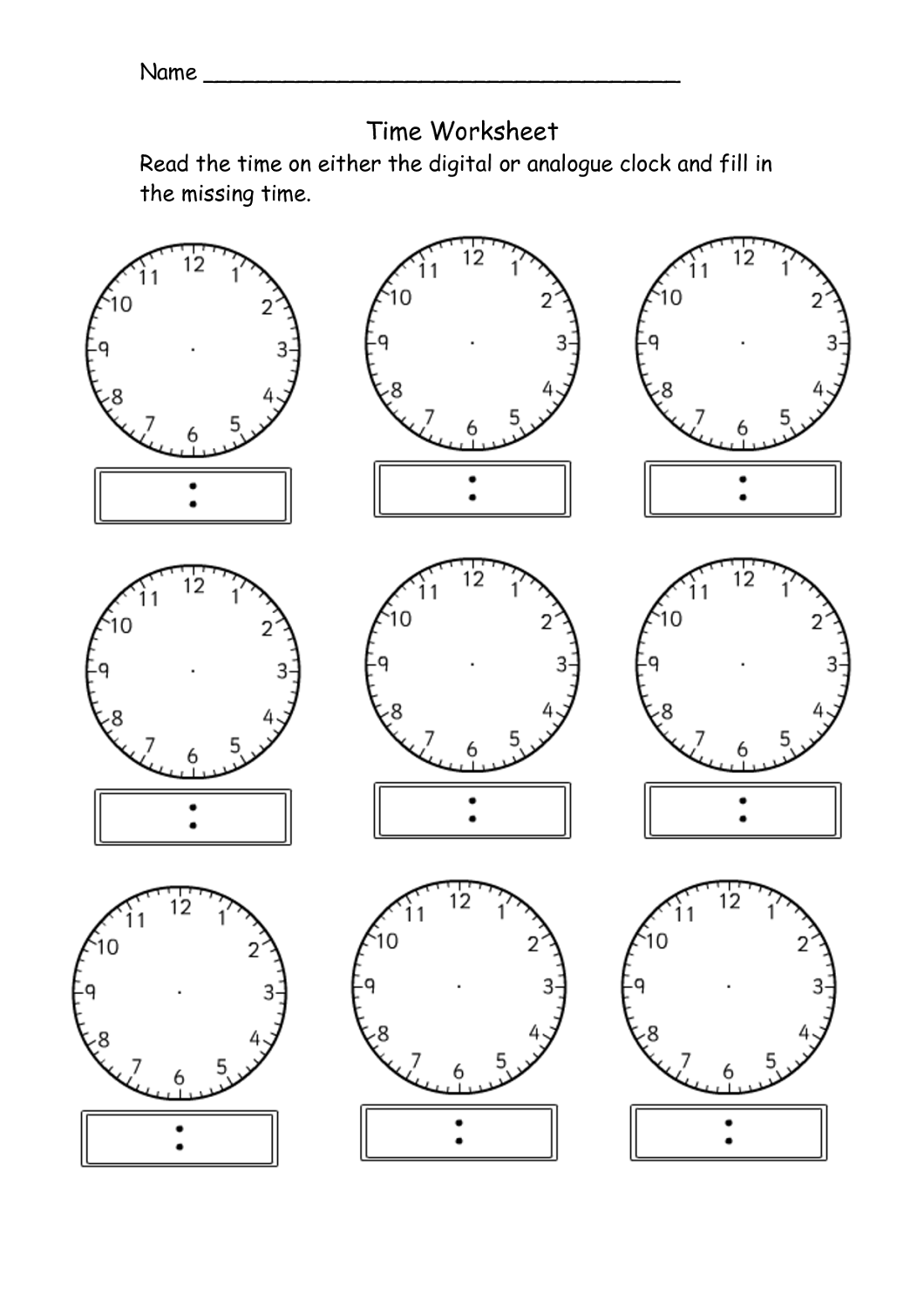Blank Clock Worksheet To Print With Images