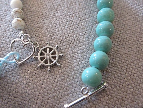 Bauble Bracelet Turquoise White & Silver by LoveandLaceBlvd