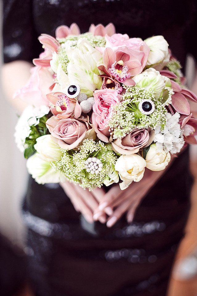 #Bouquet | Add a little #Bling | See more on #SMP Weddings: http://www.stylemepretty.com/canada-weddings/british-columbia/vancouver/2012/12/24/anna-karenina-inspired-shoot-from-le-soirees-weddings-events/  Photography - Vasia Weddings |