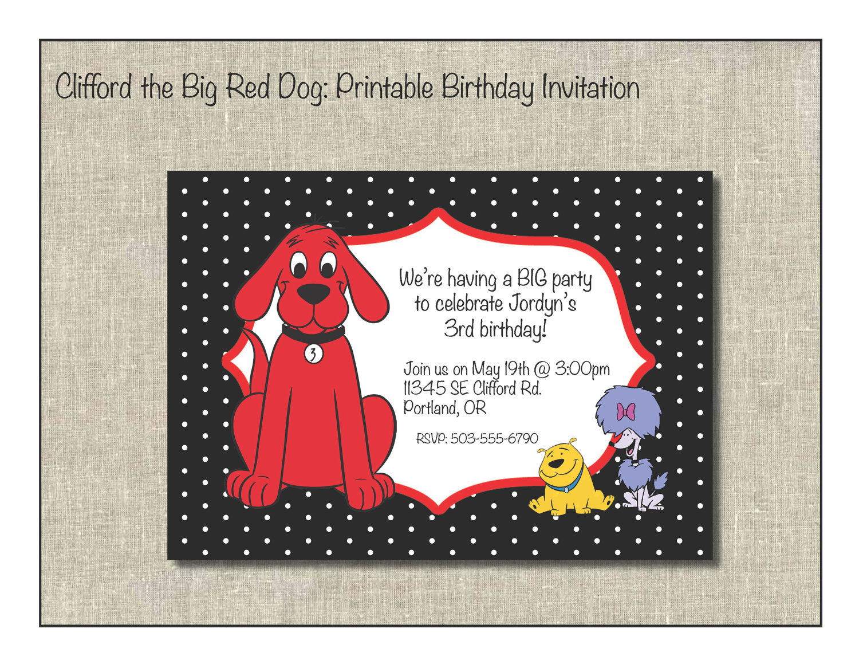 Clifford the Big Red Dog Printable Birthday Invitation | Boy bday ...