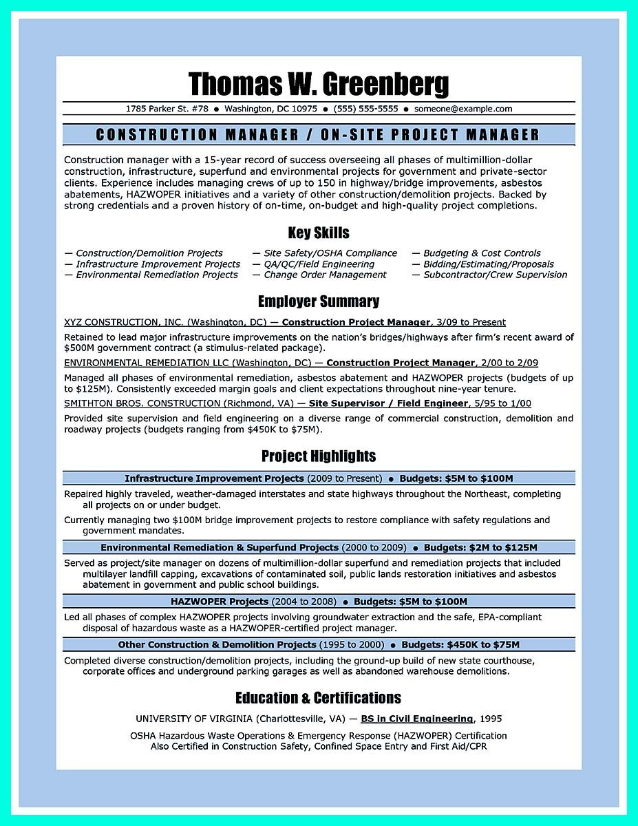 nice simple construction superintendent resume example to get applied check more at http - Construction Superintendent Resume