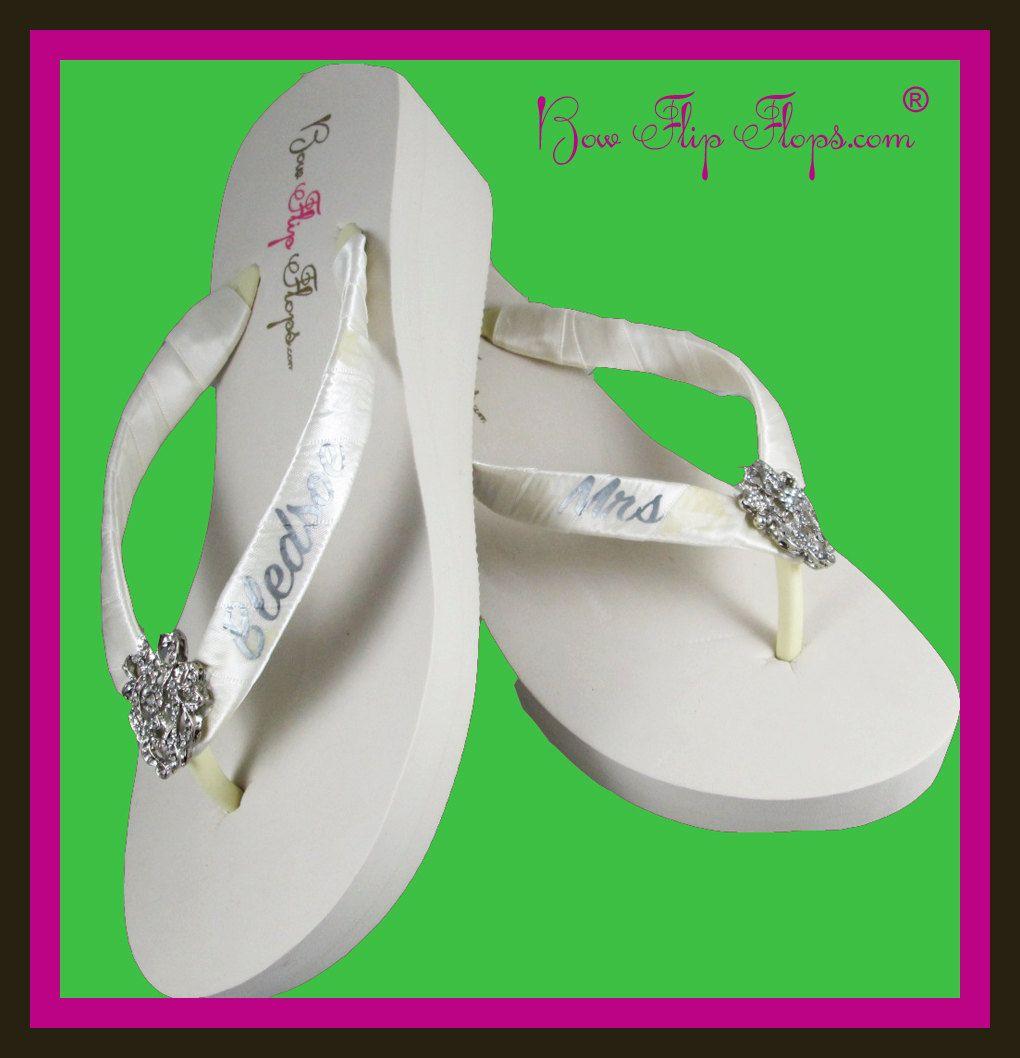 8d026ca52fd4a Mrs Wedge Bridal Flip Flops Rhinestone Pearl Jewel Bling Satin New Last  Name Ivory white wedge platform Wedding Bride heel brides by  BridalFlipFlops on Etsy
