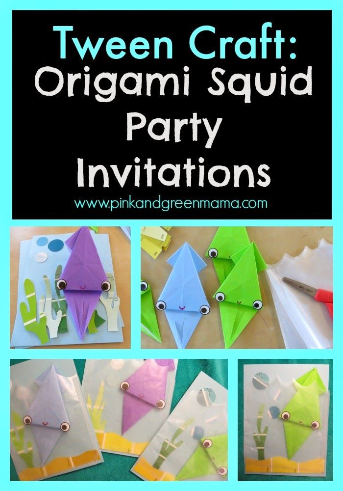 Tween Craft: Paper Squid Origami Party Invitations (Pink and Green ...