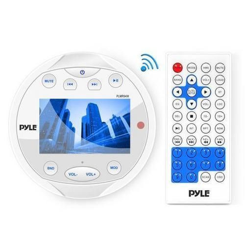 Waterproof Bluetooth Marine Digital Media Receiver Stereo Radio (USB/MP3, AUX, Video Inputs) AM/FM Radio, Round / Circle, White