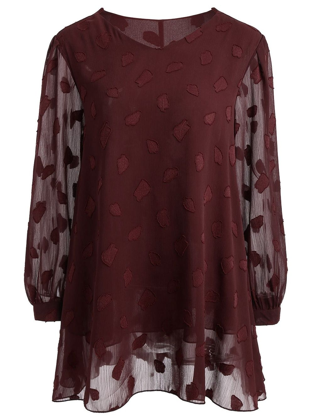 authentische Qualität fantastische Einsparungen Beste Plus Size Long Sleeve Semi Sheer Lace Blouse - CLARET 5XL ...
