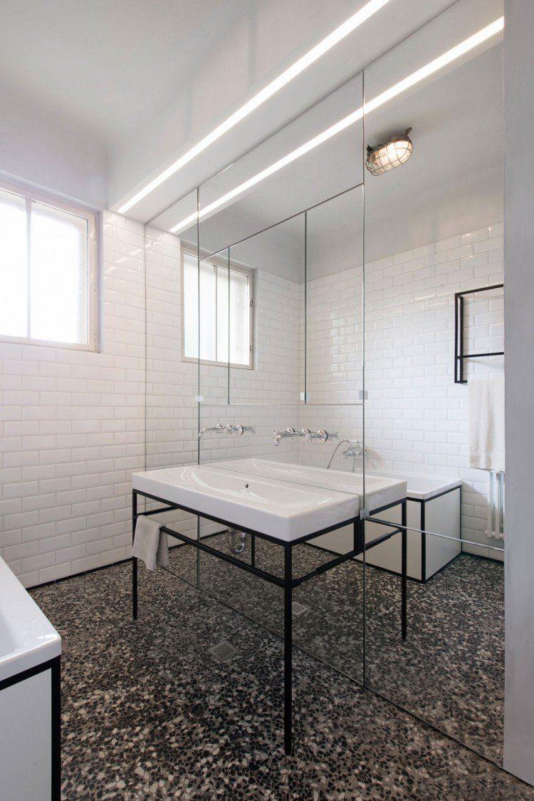 Parquet chevron et cuisine bois et blanc dans un appartement salles de bain salle de bain - Parquet salle de bain blanc ...