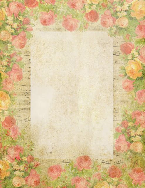 queen of blossoms free printable blank stationery with roses and french music graphics. Black Bedroom Furniture Sets. Home Design Ideas